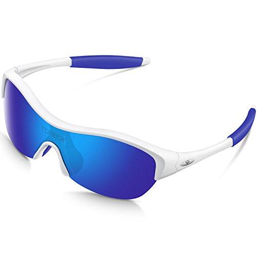 Torege TR90 Flexible Kinder Polarisierte Sonnenbrille Brille für Jungen Mädchen Alter 3–10 TR001, Wihte&Blue …