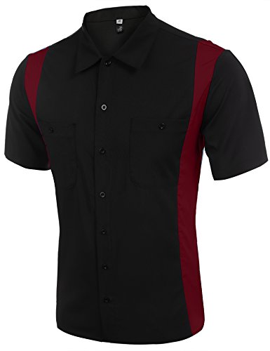 Hasuit Herren Poloshirt Blockfarben Polohemd in europäischen Größen Rot