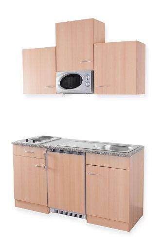 MEBASA MEBAKB1500BBM Singleküche Dekorfähiger Kühlschrank, Hängeschränke,  Massekochfeld Und Mikrowelle, 150 Cm Buche Des