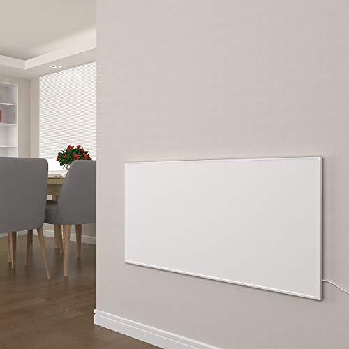Infrarot Heizung 300, 450, 580, 700, 900, 1100 Watt mit Thermostat Weiß Carbon Crystal Paneelheizung - Überhitzungsschutz Wandheizung Design Infrarotheizung (700W + Thermostat)
