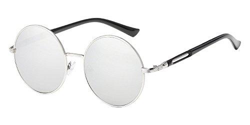 BOZEVON Retro Style Circle Sonnenbrille Runde Linse für Damen Silber