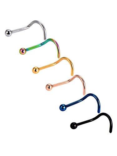 6 pezzi 20 gauge curvo naso anello naso a bottone 316l acciaio chirurgico viti di twister piercing a corpo gioielli