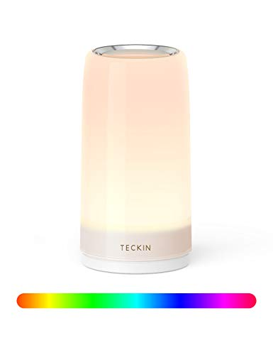 lampada da tavolo controllo touch 3 livelli luce bianca calda regolabile rgb multicolor lampada da scrivania teckin lampada notturna adatto a camera da letto soggiorn uffcio