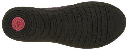 FitFlop Damen F-Sporty Penny Loafer Snake Slipper, Schwarz Violett (Deep Plum Snake-embossed)