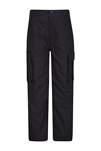 Mountain Warehouse Winter Trek Youth Hose - Schnelltrocknende Kinderhose, 4 Taschen, schrumpffrei und ausbleichsicher - Ideal Für Reisen bei kaltem Wetter, Frühling Schwarz 140 (9-10 Jahre)