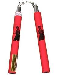 Espuma Goma Entrenamiento Nunchakus Con Cable - Completamente Rojo Bruce Lee