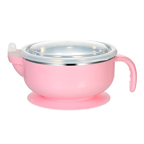 Decdeal Baby Feeding Bowl Double Layer Anti-Scald Bowl With Water Chamber Lid & Stay-Put Suction Base Stainless Steel For Baby Toddler Pink 31UdgQ5ptxL