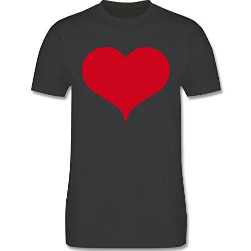 I love - Herz - Herren Premium T-Shirt Dunkelgrau