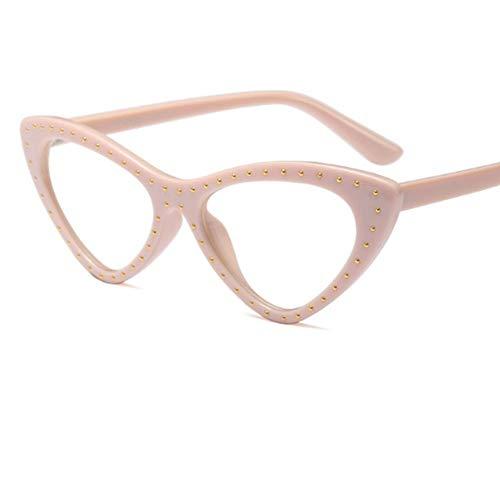 MOJINGYAN Sonnenbrillen Cat Eye Brille Frame Frauen Lesen Brillen Von Gefälschten Frau Transparentes Dreieck Brillenfassungen Für Frauen Klare Computer, D