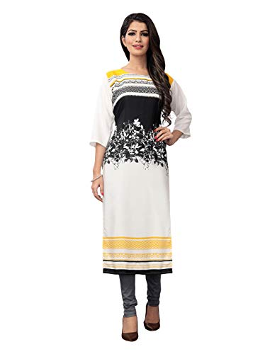 1 Stop Fashion Women's White Crepe Knee Long W Style Kurtas/Kurti