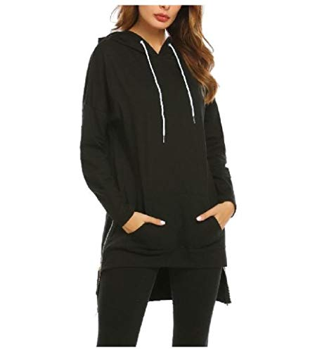 Energy Womens Hoodie Zip Up with Pocket Pure Color Pullover Sweatshirt Black XL