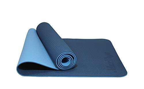 MaxDirect Colchoneta para Yoga, Pilates, Gimnasia de Material Ecológico TPE. Esterilla Antideslizante Muy Ligera de Grosor de 6mm, tamaño 183cm x 61cm. Azul