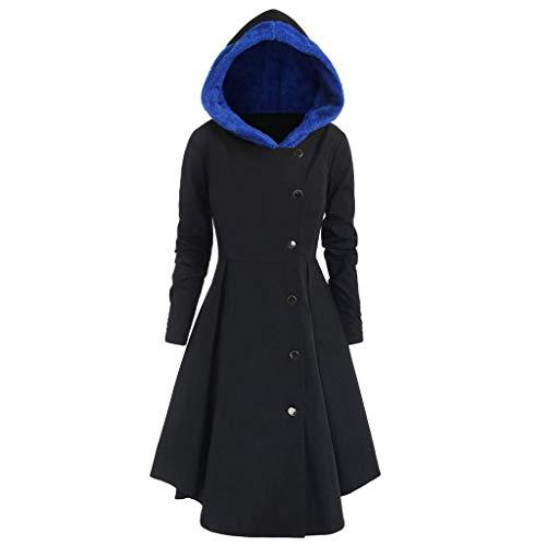 iHENGH Damen Herbst Winter Bequem Mantel Lässig Mode Jacke Frauen Plus Size Asymmetrische Fleece Mit Kapuze Einreiher Lange Drap Buttons Coat(Blau, 4XL) Blau Push-button