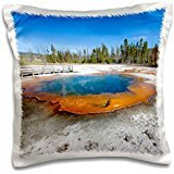 Hot Springs - Emerald Pool at Black Sand Basin, Yellowstone 16x16 inch Pillow Case (Springs Emerald)