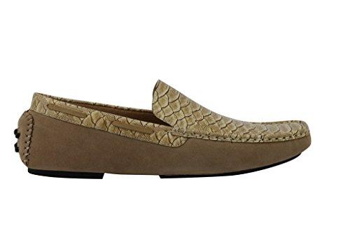 mensblue brevet Tan en imitation daim Chaussures Mocassins Mocassins. Antidérapant sur la conduite en cuir effet serpent peau