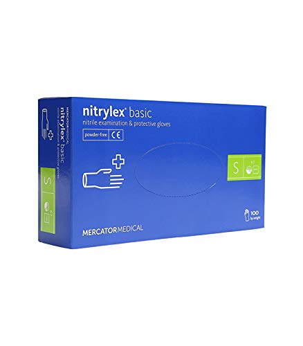 Nitrilhandschuhe Einweghandschuhe 100 Stück BOX (S M L XL - blau ) nitrylex pf puderfrei Einmalhandschuhe Untersuchungshandschuh (S)