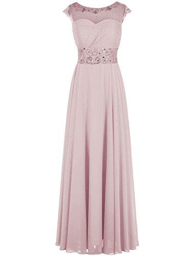 Dresstells Damen Bodenlang Jugendlich Brautjungfernkleider Abendkleider  Blush