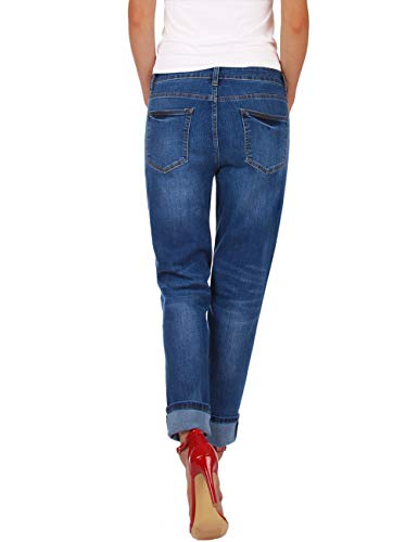 Fraternel Damen Jeans Hose Boyfriend Baggy Stretch Relaxed Blau XS / 34 - W27 -
