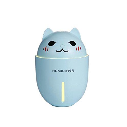 Desktop-Luftbefeuchter LED-Beleuchtung B&T USB-Fan mit Befeuchtung, Beleuchtung, Föhn Drei Funktionen Free USB Fan Netzkabel (Cartoon Katze) (Blau) -