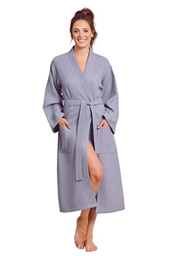 Soft Touch Linen Luxuriöser Bademantel, weich, saugfähig, leicht, lang, Kimono, Waffelpiqué, Spa Bademantel für Frauen - Grau - Medium -