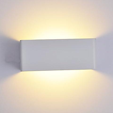 Topmo 7W LED Wandleuchte Weiße Aluminium Wandlampe 180 Grad Abstrahlwinkel Lampe mit Leuchtmittel Warmweiß