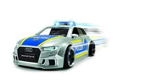 Dickie Toys 203713011 - Audi RS3 Police, Polizeiauto mit Friktion, Licht & Sound, Zubehör, 1:32, 15 cm, Silber, blau