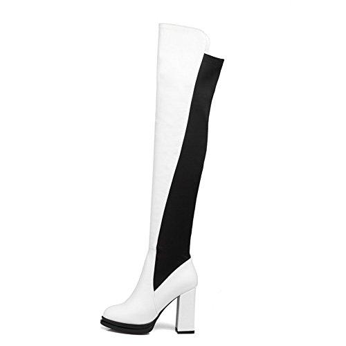 AgooLar Damen Blend-Materialien Hoher Absatz Gemischte Farbe Hoch-Spitze  Ziehen Auf Stiefel Weiß ...