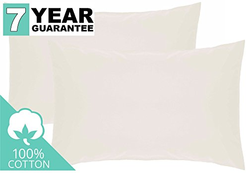Belledorm 2 PACK Ivory Pillowcases, 100% Cotton, 200 Thread Count Percale (Housewife)