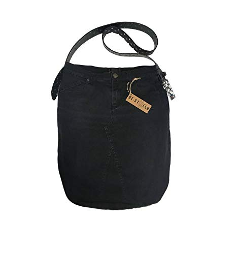 Black Denim, Handmade Bag, Upcycled Denim Bag, Hobo Bag, Casual Shoulder Bag, Weekend Bag, Jeans tote, Black Jeans, Modern Bag, Different - handmade-bags