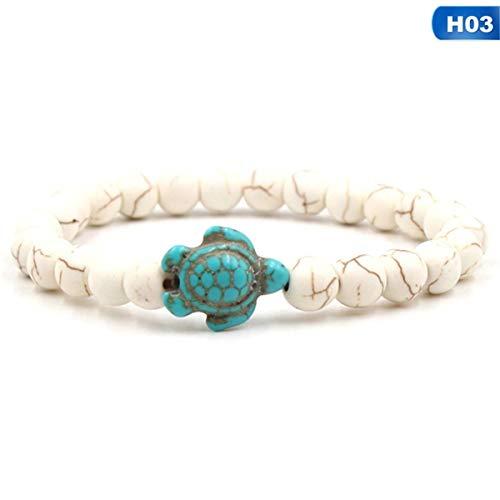 Armreif mit Kette, Summer Style Sea Turtle Beads Bracelets For Women Men Classic 14 Colors Natural Stone Elastic Friendship Bracelet Beach Jewelry 03