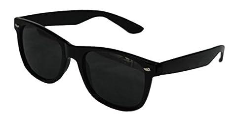 Black Lens Wayfarer Style Sunglasses - Unisex Shades UV400 (Black)