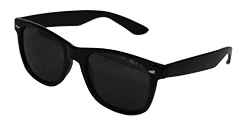 Black Lens Wayfarer Style Sunglasses - Unisex Shades UV400 (Black)
