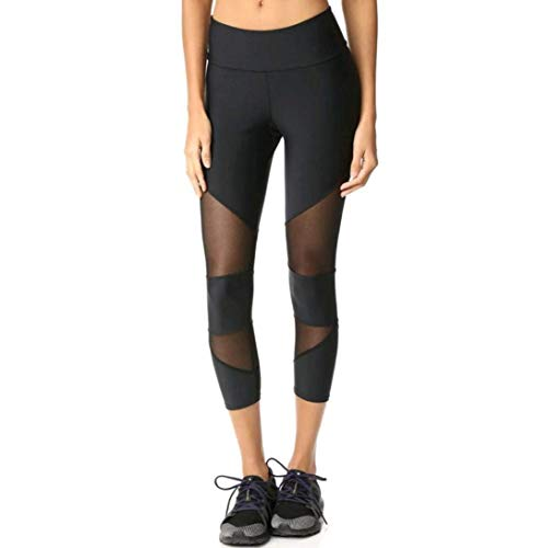 Saoye Fashion Damen 3 4 Yoga Leggings Hose Trainingshose Hosen Leggings Patchwork Kleidung Fitness Sporthosen Bleistifthosen Mesh Hohl Yoga Leggings (Color : Schwarz, Size : M)