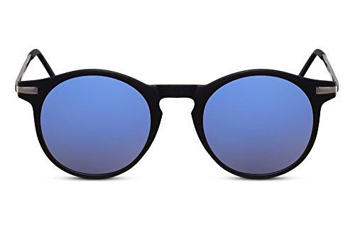 Cheapass Sonnenbrille Rund Schwarz Blau Verspiegelt-e Festival-Brille Retro UV-400 Metal Plastik Unisex