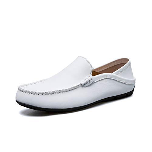 Slipper und Leder Mokassins für Herren Weiche Atmungsaktiv Freizeit Fahren Schuhe Flache Bootsschuhe Halbschuhe Schwarz Weiß Braun Größe 38.7-44.7 EU (Größe 7 Schwarz Flache Schuhe)