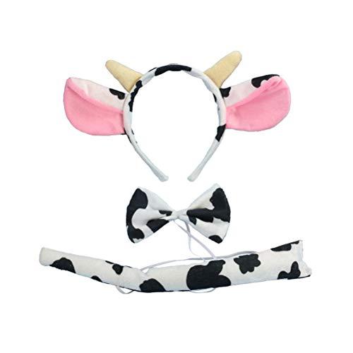 3 Unids Orejas Vaca Diadema Cola Bowtie Set Niños