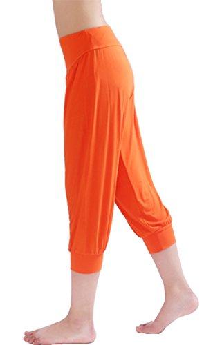 HOEREV Super suave Harem Spandex Modal Yoga Pilates Capri pantalones mujer Naranja