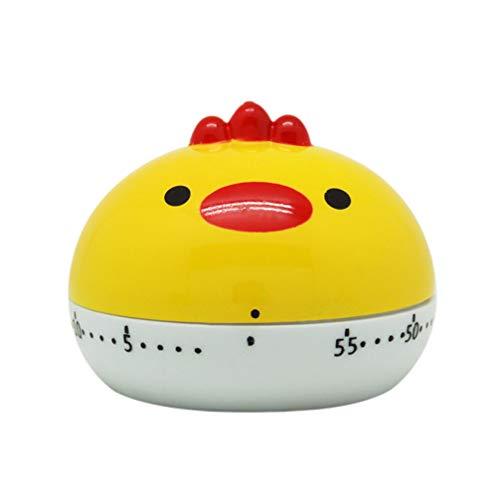 NUOBESTY Küchentimer Eieruhr Kunststoff Cartoon Küken Tier Timer Küchenhilfe für Küche Backen Braten Kochen - Gelb