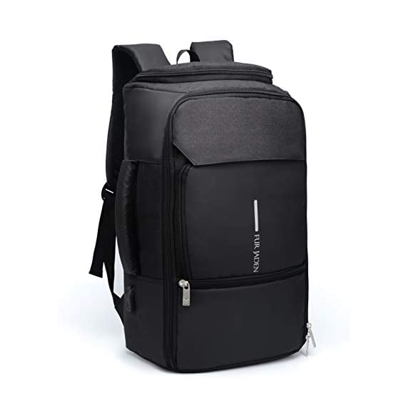 Fur Jaden Water Repellent Backpack Cum Laptop Briefcase Bag with USB Charging Port 22 Ltrs Black Casual Backpack (BM55_Black)