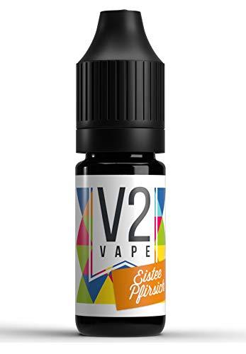V2 Vape Eistee-Pfirsich AROMA / KONZENTRAT hochdosiertes Premium Lebensmittel-Aroma zum selber mischen von E-Liquid / Liquid-Base für E-Zigarette und E-Shisha 10ml 0mg nikotinfrei