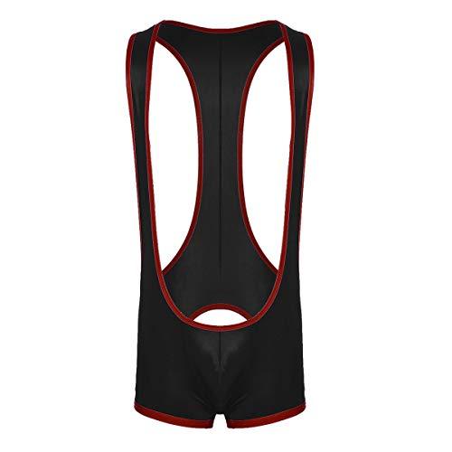 Tiaobug Männer Unterwäsche Herren Unterhemd Bodysuit Boxershorts Offen Hintern (M, Schwarz)