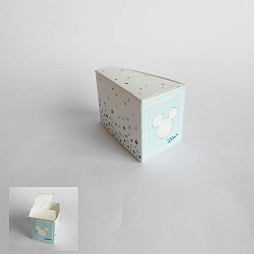 Bomboniera scatola fetta torta confetti topolino disney celeste set 20 pz art 68044