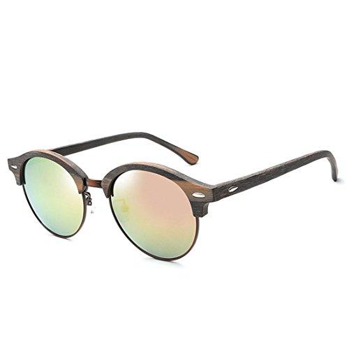 GCC Die Sonnenbrille runde Box personalisierte Faux Wood-Grain Sonnenbrille, ICH Grain Full Metal