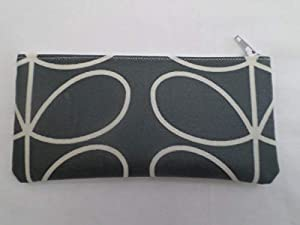 Handmade Oilcloth Tampon Case Holder - Cool Grey Linear Stem Fabric