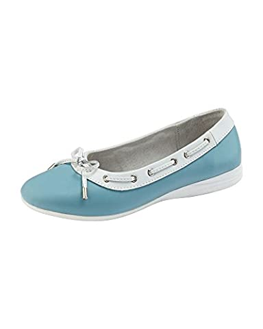 Cotton Traders Womens Ladies Casual Leather Slip-on Bow Detail Comfort Shoes E Fit Blue 8