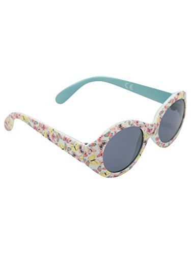 M&Co Baby Girl Stylish Round Frame Pastel Coloured Butterfly Print 100% Uv Protection Sunglasses Multicolour One (Baby)