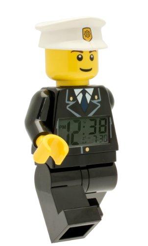 LEGO City 9002274 Polizist Kinder-Wecker mit Minifigur und Hintergrundbeleuchtung , schwarz/weiß , Kunststoff , 24 cm hoch , LCD-Display , Junge/ Mädchen , offiziell