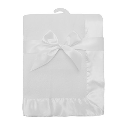 American Baby Company Fleece Decke mit Satin Trim, weiß -