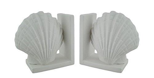 Coppia di decorativo bianco in ceramica a forma di conchiglia (Shell Accenti)