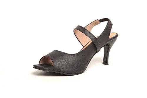 Feel It Women's Black Leatherite Block Heels (5792) - 6 UK